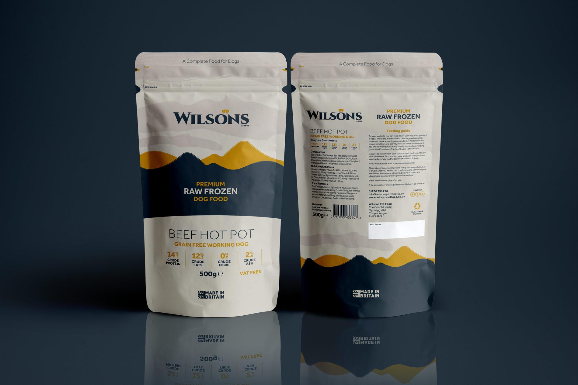 Branding & Packaging design for Wilsons Pet Foods, Scotland